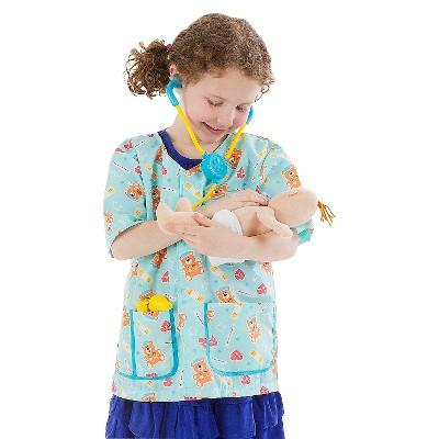 Melissa & Doug Pediatric Nurse Role Play Costume Set (8pc) - Includes Baby Doll, Stethoscope