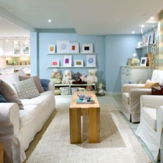 Playroom Rec Room Bright Cheery Despite No Visible Windows Like Ledges With Bright Prints Family Room Design Classy Living Room Basement Makeover