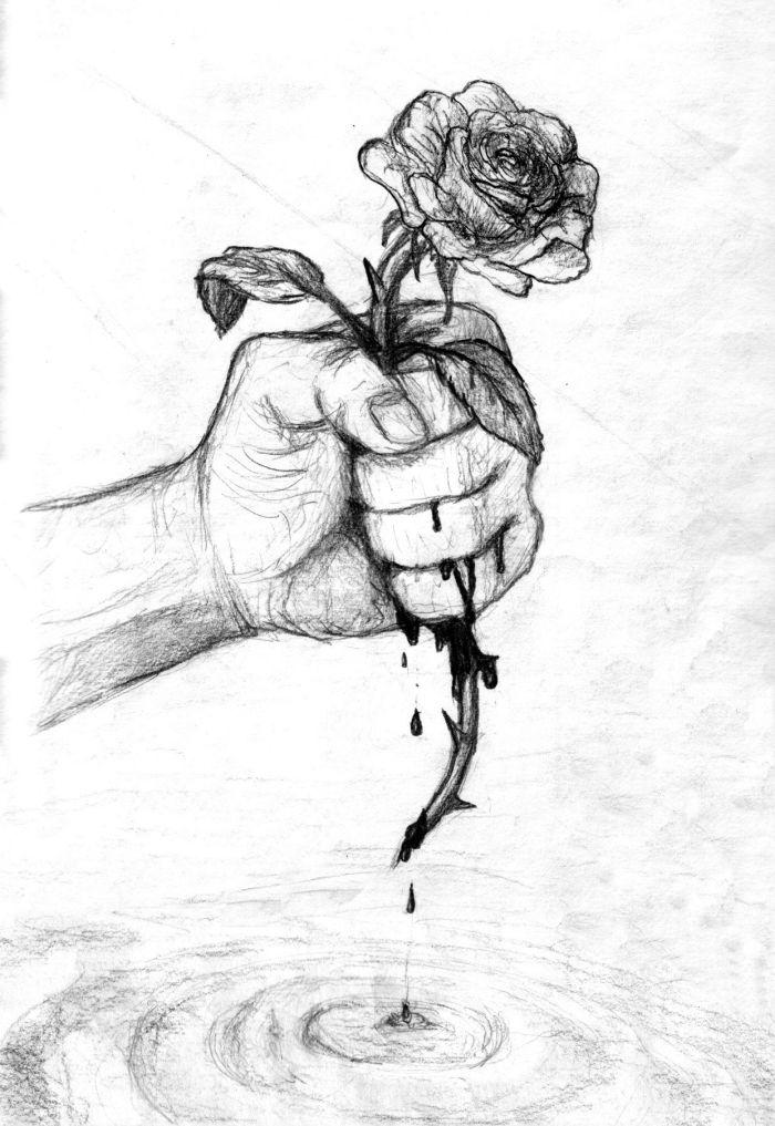 rosa mit langen dornen, hand die blütet, zeichnen lernen schritt für schritt, blume