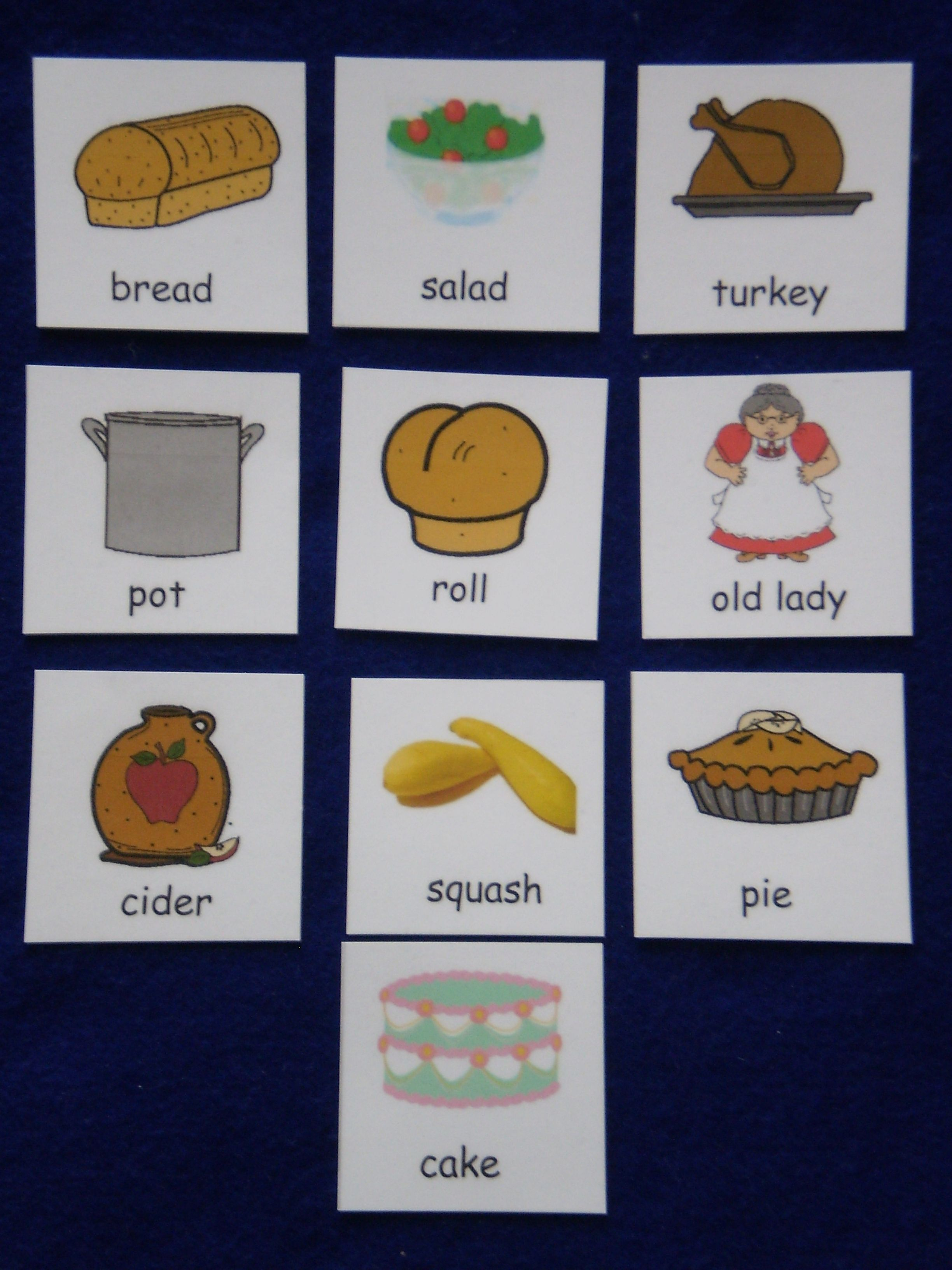 Old Lady Swallowed A Pie Sequencing Cards