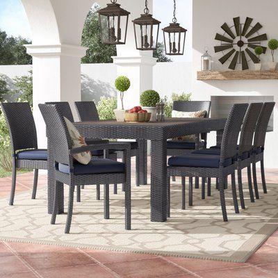 Three Posts Northridge 9 Piece Dining Set With Sunbrella Cushions Outdoor Dining Set Garden Furniture Design Wicker Dining Chairs