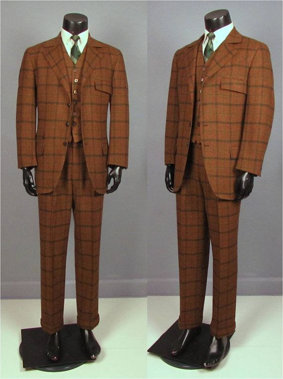 Vintage Suit Late 1960s Men 39 S Three Piece Brown And Green Windowpane Plaid Suit Trousers Jacket Waistcoat 1960s Fashion Mens Vintage Suits Suits