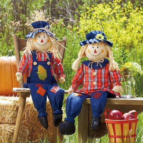 Sitting Scarecrow Pair - Boy and Girl Current Catalog Fall Home