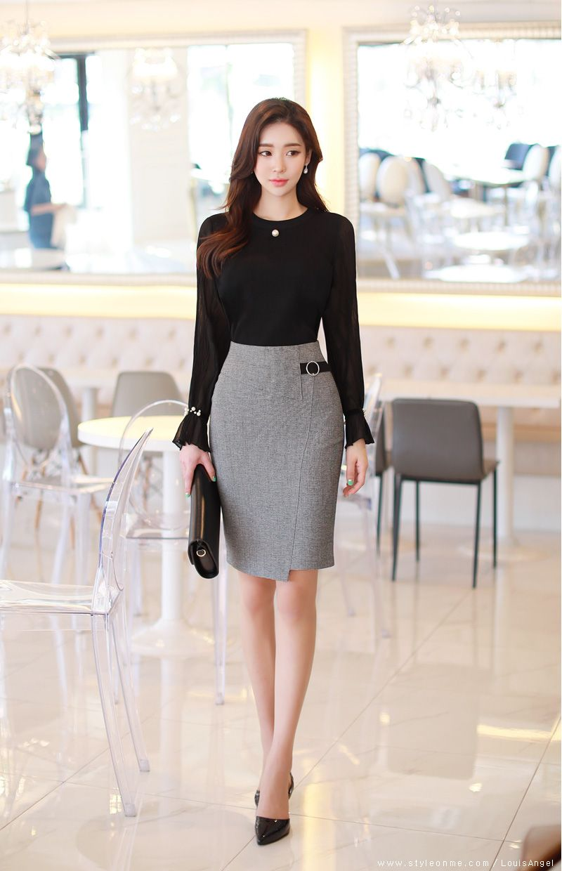 Circle Buckle Side Detail Wrap Style Pencil Skirt   Office