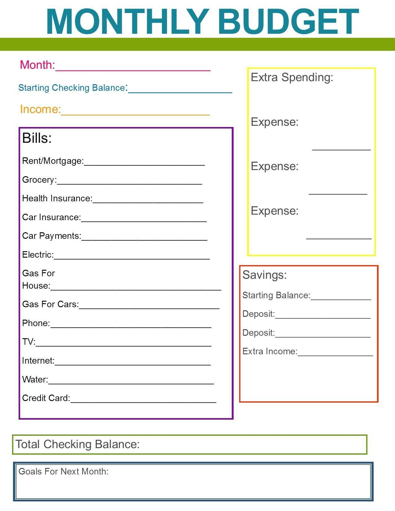 Month At A Glance Budget Worksheet