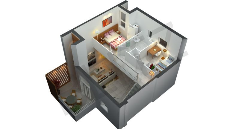Nice Simple Two Story Small Modern Home Plans 3D Floor Plans