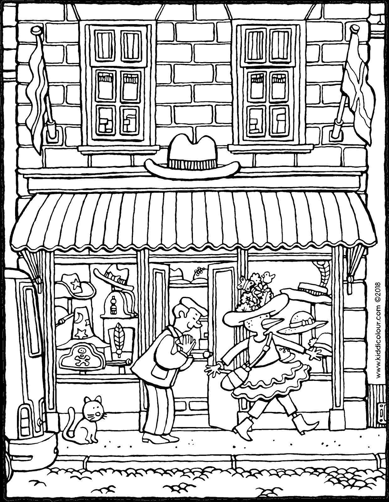 Boutique De Chapeaux Kiddicoloriage En 2021 Image A Colorier Coloriage Colorier