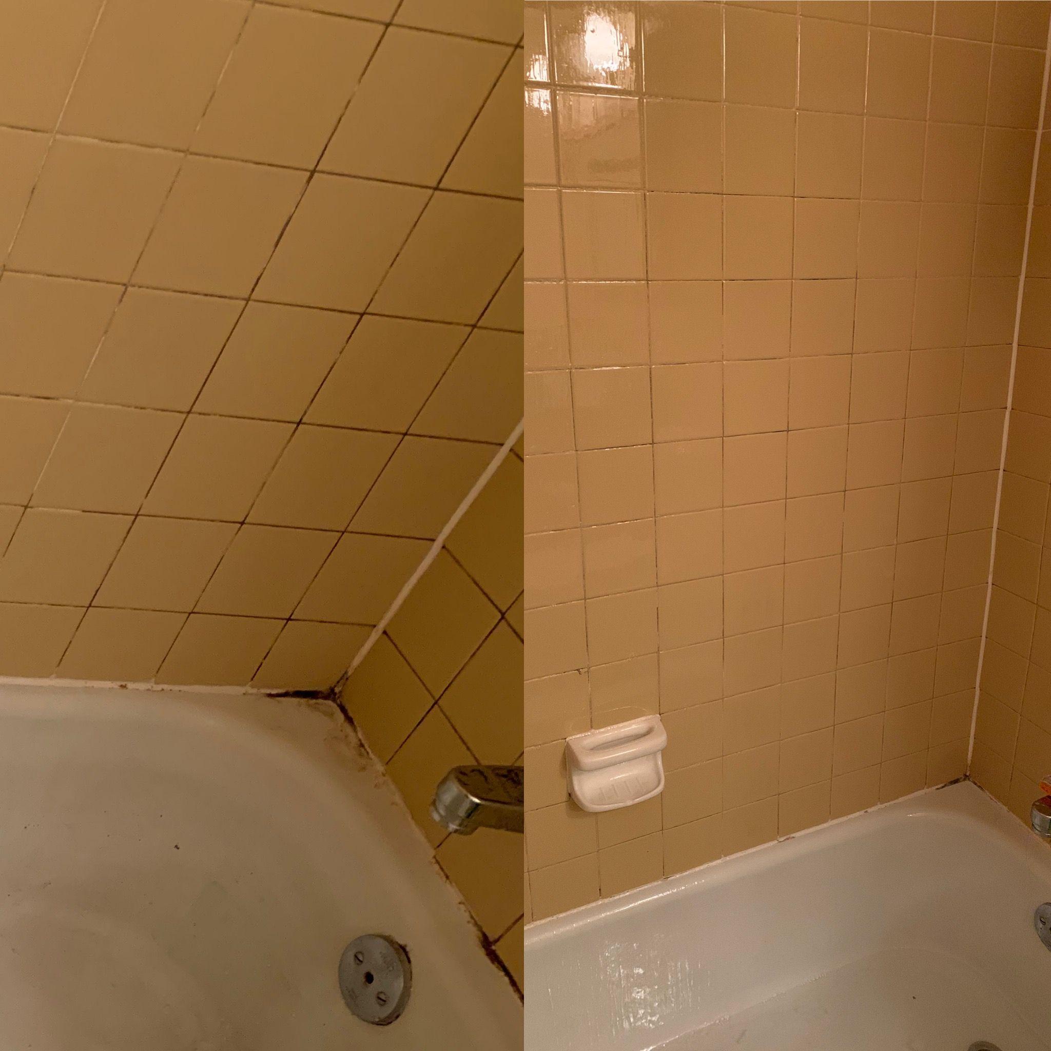 Cleaning the tub bakingsoda vinegar bathroom