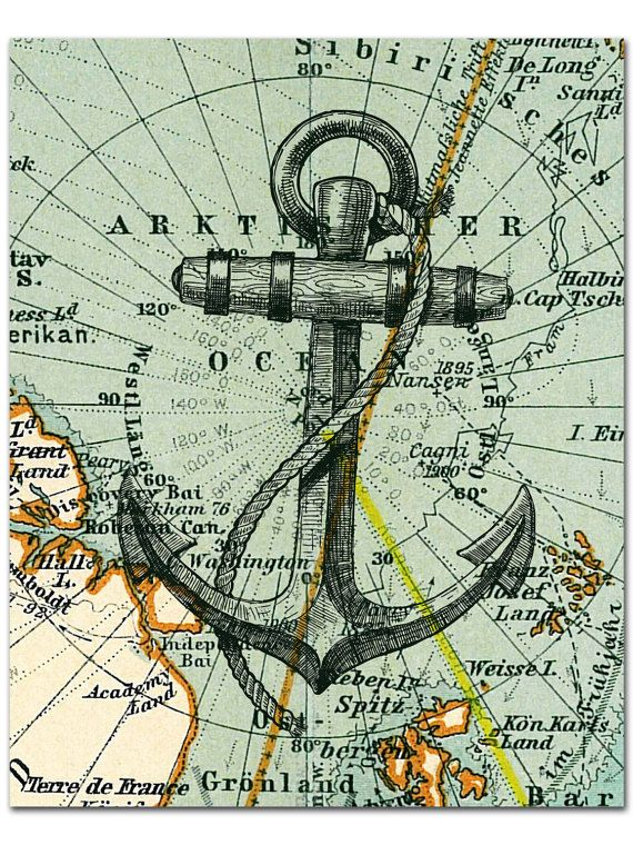 Nautical Map Anchor Print Anchor Poster Nautical Wall Etsy Beach House Art Nautical Wall Hanging Nautical Map