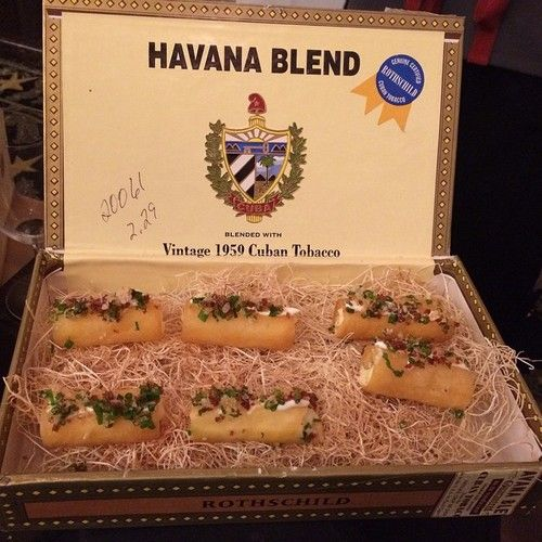 Twice Baked Potatoes From Vox Table In Cigar Boxes At Bigredsandbubbles Atx Catering Via Bizbash Twice Baked Potatoes Baked Potato Catering