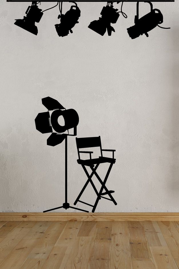 Movie Room Lights Amp Directors Chair Vinyl Wall Decal In