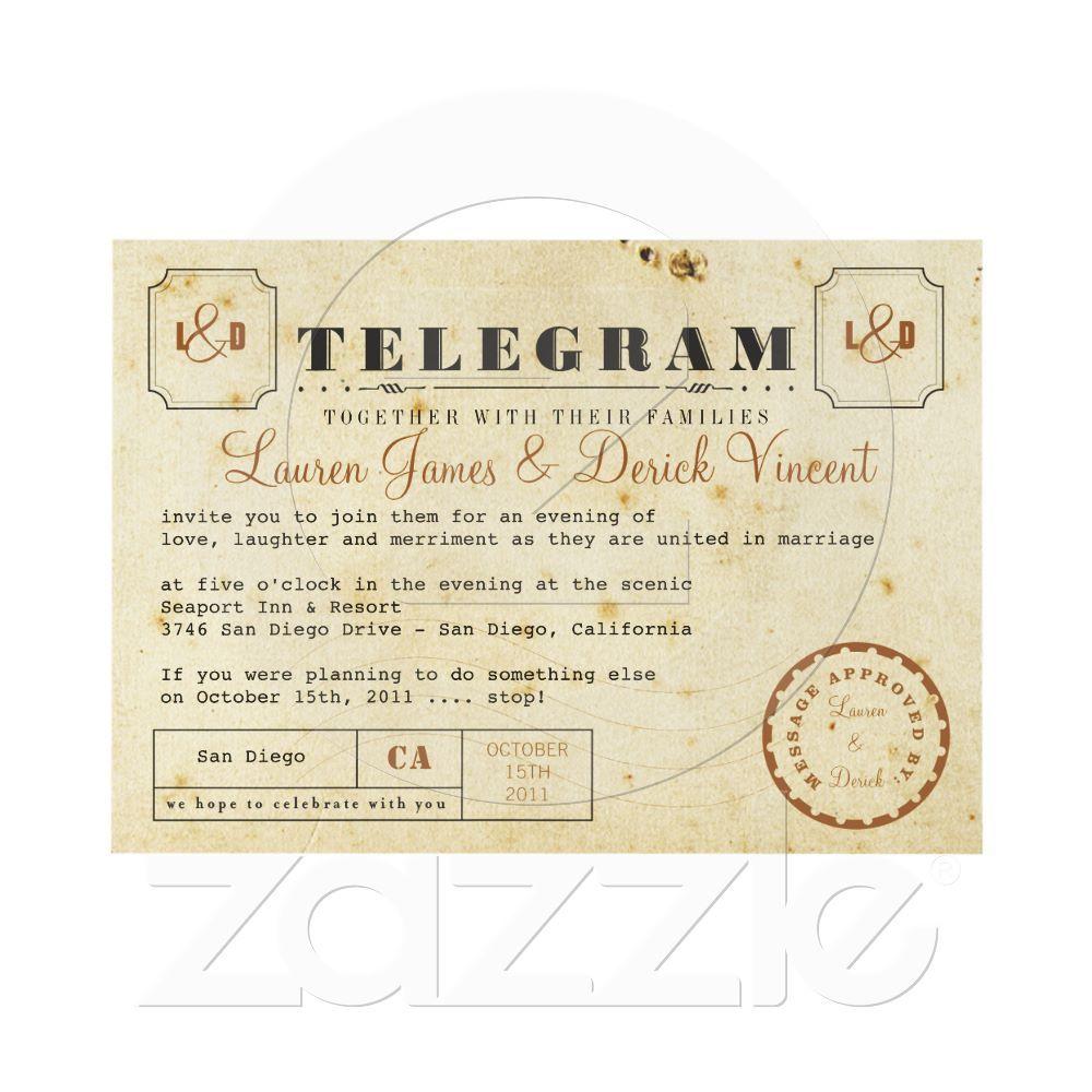Vintage Telegram Invitation Card | Wedding, Vintage and Vintage ...