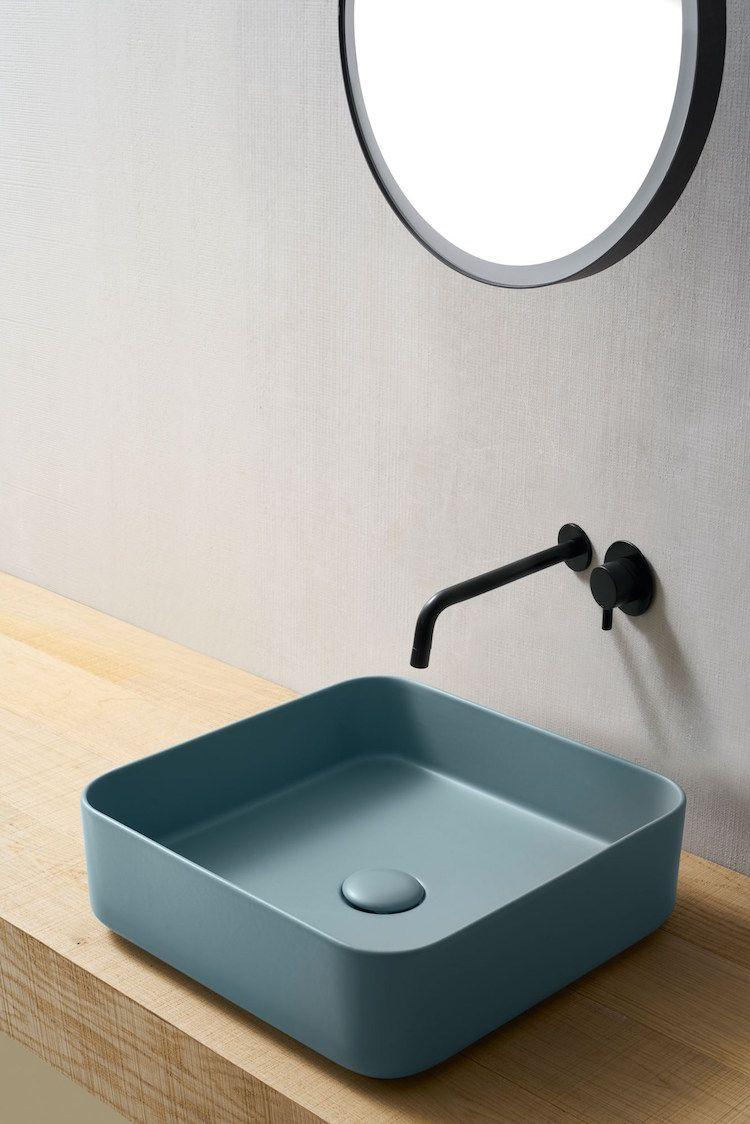 Badezimmer Trend Farbiger Waschbecken Blau Home Ideas Bathroom