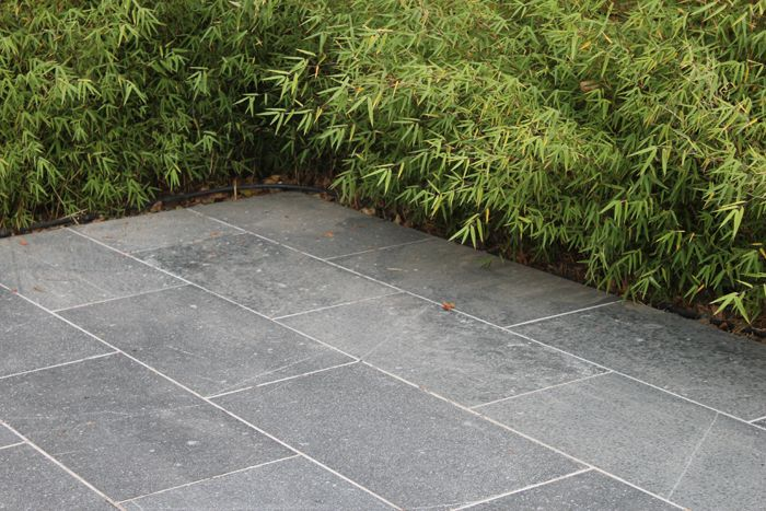 Bluestone pavers rectangular outdoor courtyard for Blue stone paver patio