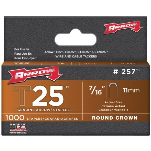 Arrow Fastener 257 Genuine T25/T2025 7/16-Inch Staples, 1,000-Pack by Arrow. $4.34. From the Manufacturer                The Arrow T25 7/16 inch 1/4 inch wide staple, each box has 1,000 pieces.  Fits Arrow's T2025, T25 Staple Gun and ET2025 Electric Staple Gun.  Also fits Stanley model CT10C.                                    Product Description                The Arrow T25 7/16 inch 1/4 inch wide staple, each box has 1,000 pieces.  Fits Arrow's T2025, T25 Staple Gun and ...