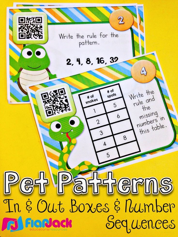 Pet Patterns QR Code Task Cards - Contain 24 self-checking QR code task cards that cover number sequences and rules and patterns in in and out boxes. All four operations are involved. Lots of FUN! $