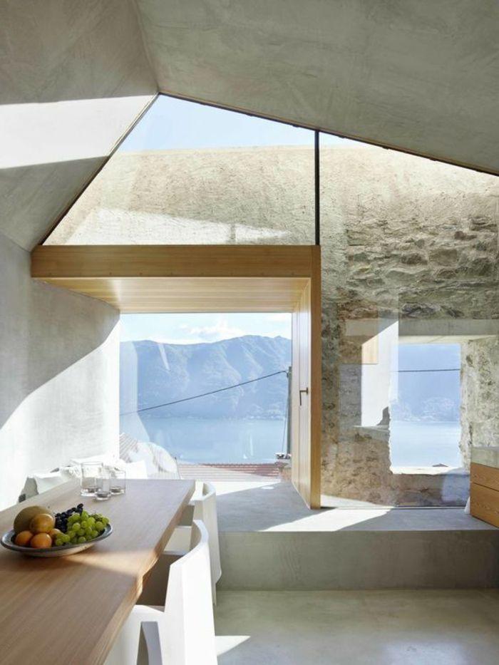 Fachadas modernas ventanas grandes mesa de madera sillas for Diseno de sillas modernas de madera