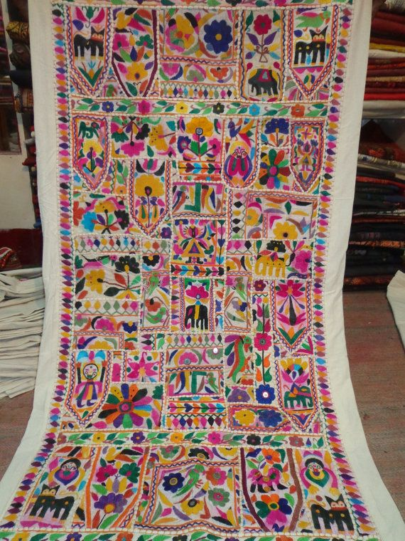 Vintage Tapestry Antique Indian Handmade Embroidered Patchwork Wall Hanging 001 Kutch Work Tapestry Indian Embroidery