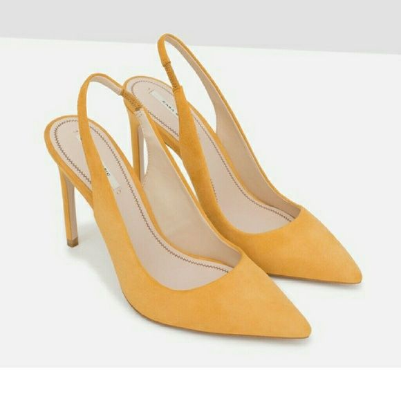 cc6aafa17692 Zara shoes (6231) New with tag. Mustard yellow suede leather high heel shoes.  Heel strap detail and pointed toe. 100% Upper  Goat Leather Lining  100% ...