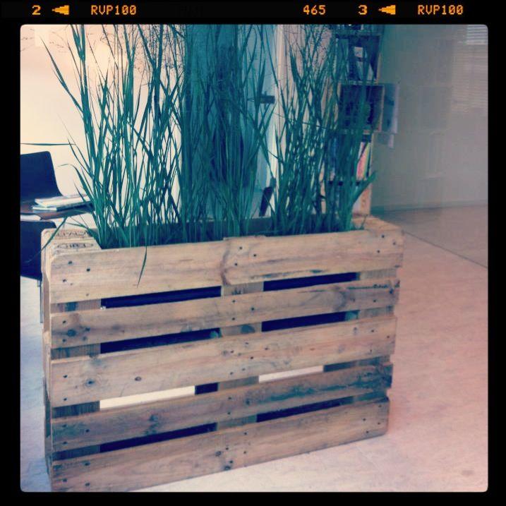 Pallet bak voor planten leuke afscheidings wandje met groen ideas for plants and flowers - Scheiding in hout deco interieure ...