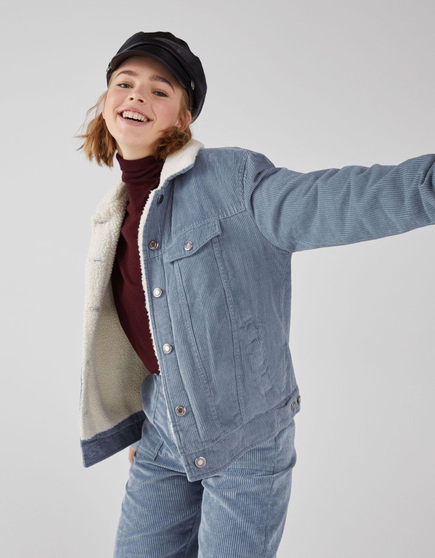 a63a96e12d Corduroy and faux shearling trucker jacket - Jackets - Bershka Tunisia
