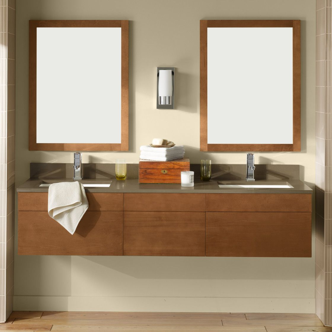 Adorable Custom Design Interior Of Wall Mount Double Sinks Vanities For Small Bathroom Ideas With Feature
