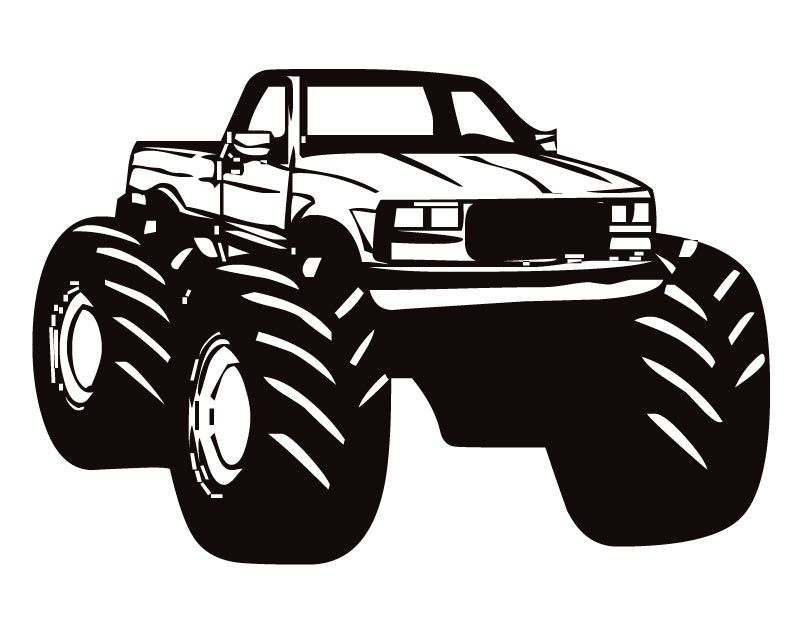 Monster Truck Clip Art Black And White Clipartfox 2 Monster Trucks Truck Art Pink Truck Accessories