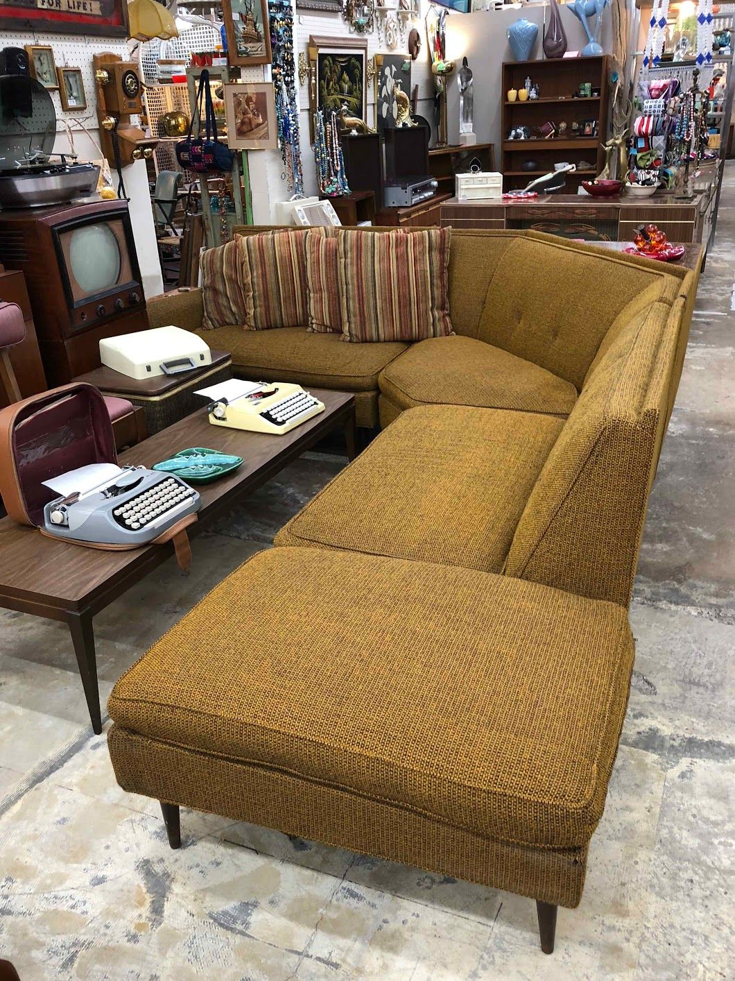 Sofa X Long Mid Century Modern Milo Baughman Style Three Piece Sectional Sofa