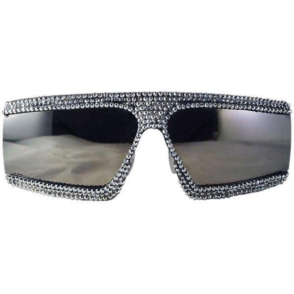 Parsons Sunglasses (1 865 SEK) ❤ liked on Polyvore featuring accessories, eyewear, sunglasses, futuristic sunglasses, checkered sunglasses, wraparound sunglasses, swarovski crystal sunglasses and wrap around sunglasses