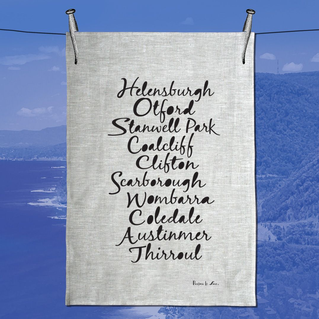 Coastal Villages Illawarra  Beautiful Pearl coloured 100% Linen  Hand Printed by the artist in her studio on the south Coast of Australia printed with Bio Aqua Inks.  Features the scenic villages of  Helensburgh Otford Coalclif  Clifton Scarborough Wombarra Coledale Austinmer Thirroul  With an exclusive Font designed by Paloma. large size 51cm x 71 cm  Use me as a wall hanging or on your table or in a craft project even dry your dishes with me.