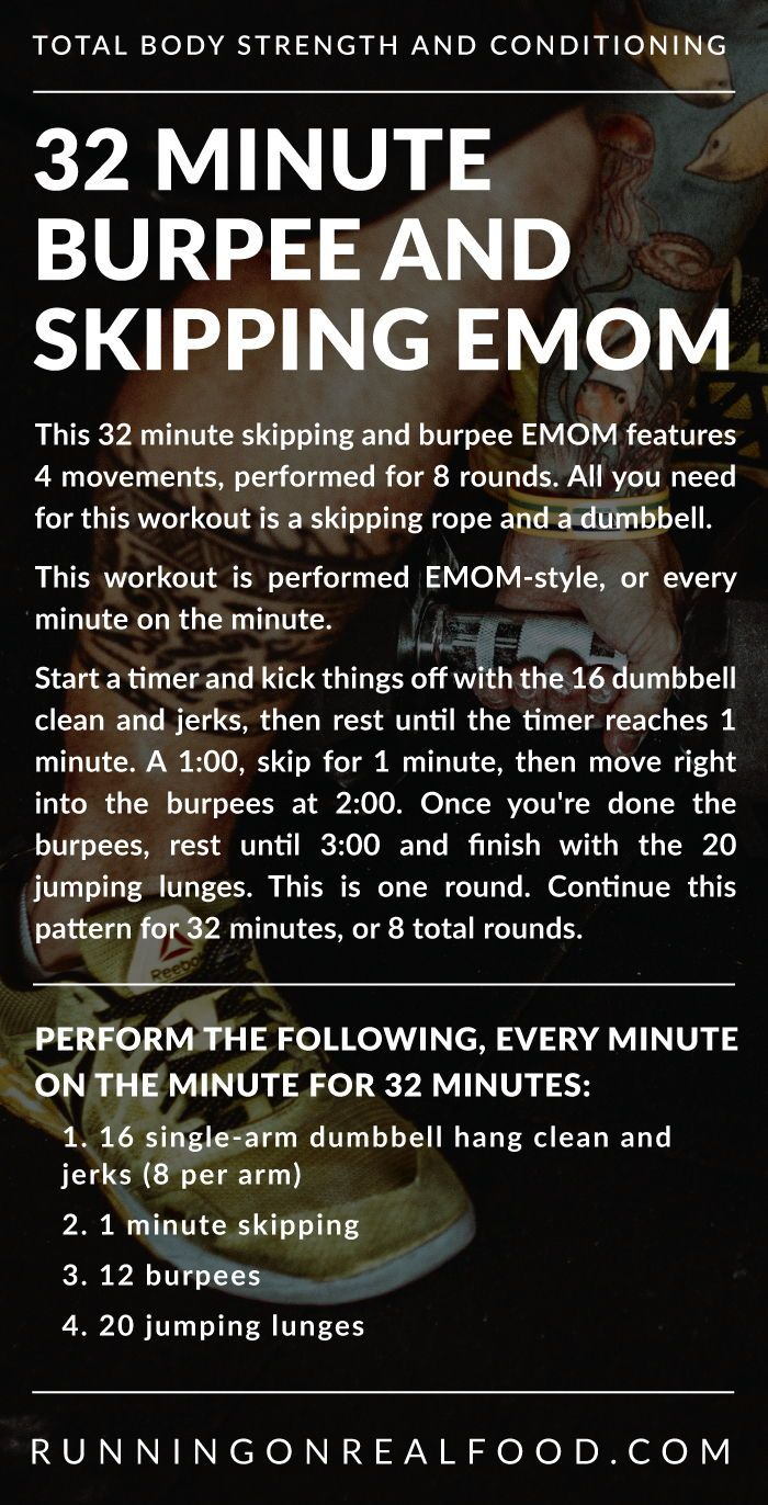 This 32 minute skipping and burpee EMOM features 4 movements performed for 8 rounds All you need for this workout is a skipping rope and a dumbbell