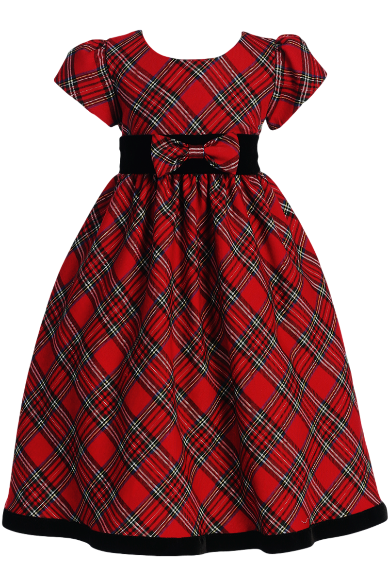 aadcb3fd8182 A Classic Red & Green Plaid Girl's Christmas Holiday Dress with Short Cap  Puff Sleeves, Black Velvet Waist, Removable Front Waist Bow, Plaid Tie Back  Sash ...