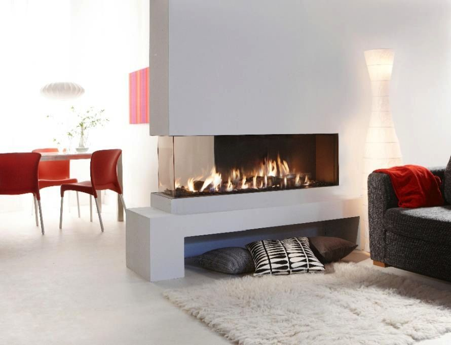 Dining Room Lounge Double Sided Fireplace Minimalist Fireplace