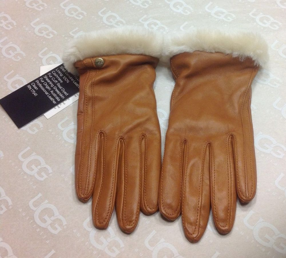 e5308e7e05c UGG Australia Womens Classic Leather Smart Gloves Chestnut Size ...