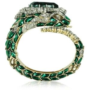 Roberto Cavalli Emerald Green Crystals and Enamel Snake Bracelet