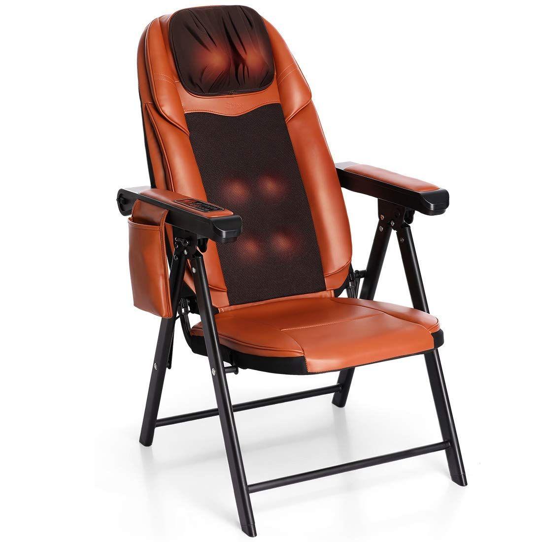Folding shiatsu massage chair with heat back neck and