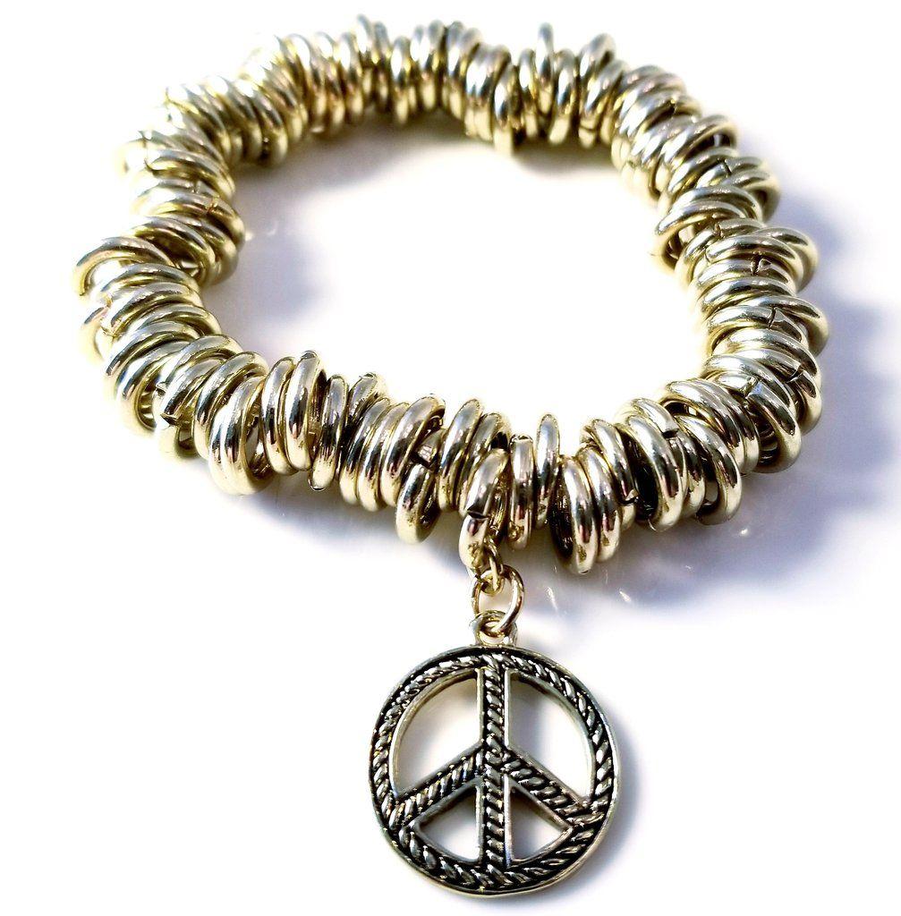 Antiqued Gold Tone Peace Sign Bracelet Unisex Peace Sign Bracelet Bracelets Gold Tone Ring