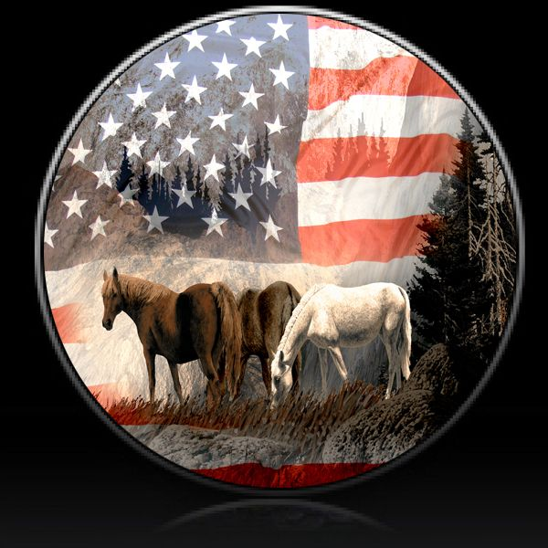 1 Horses With American Flag Spare Tire Cover Custom Tire Covers