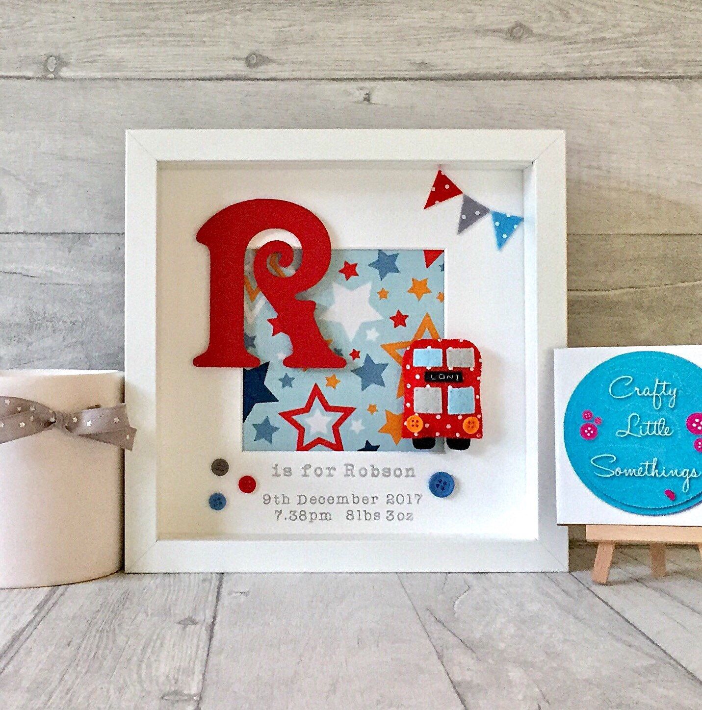 Personalised london bus box frame gift new baby gift christening personalised london bus box frame gift new baby gift christening gift 1st birthday gift london decor nursery decor baby keepsake negle Gallery