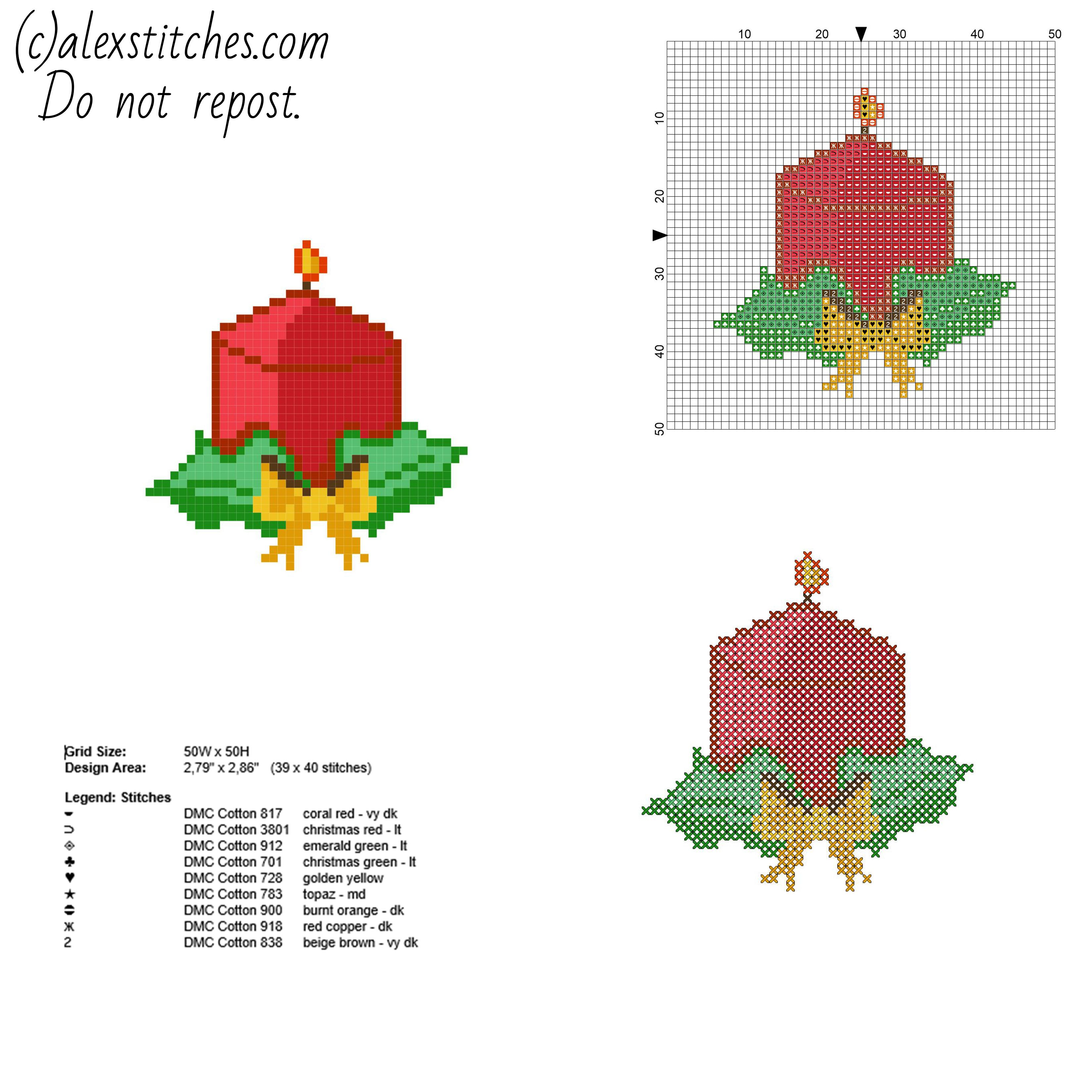 Simple and small cross stitch Christmas card with a candle free ...