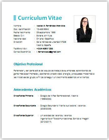 Curriculum Vitae En Word Sencillo Curriculum Vitae Pinterest