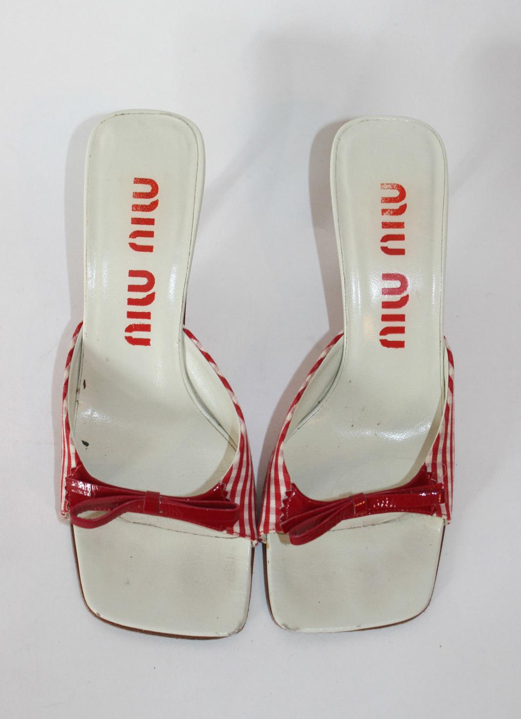 66c206e6e06 Miu Miu Vintage Incredible Exaggerated Square-toe Gingham Sandals ...