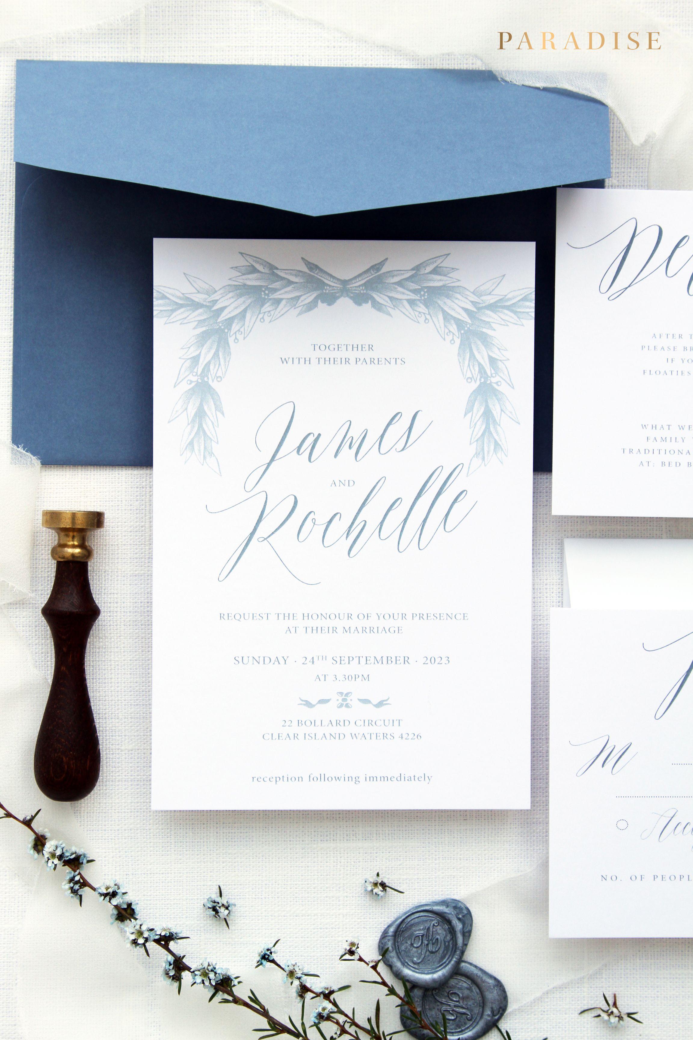 Rochelle Taupe 2 Wedding Invitation Sets Wreath