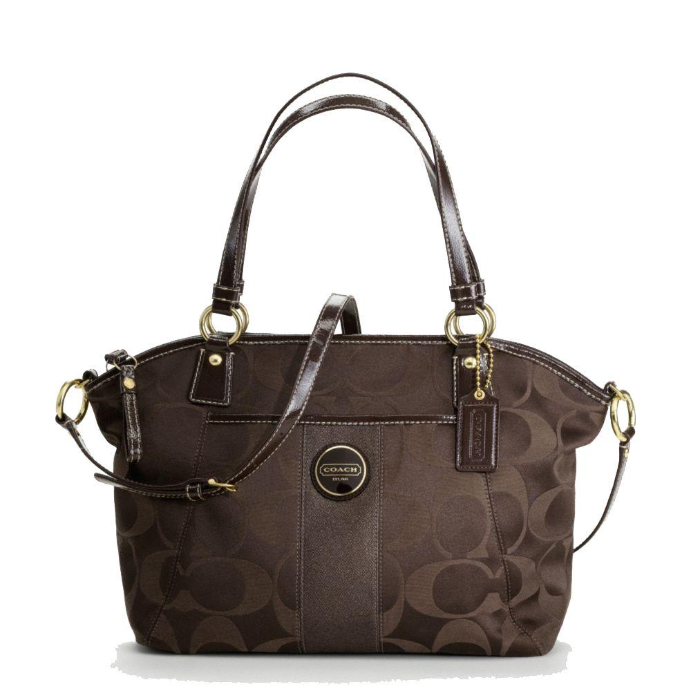 0e6f84815f24f Coach Handbag Signature Stripe Sateen Pocket Brown Tote F18034 (C251 ...