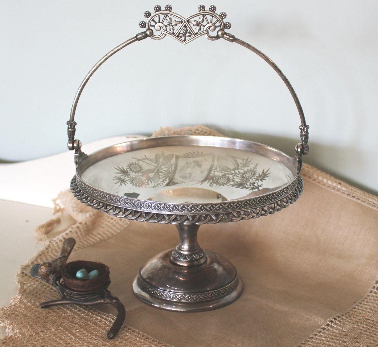 Antique silver plate cake basket silver basket antique