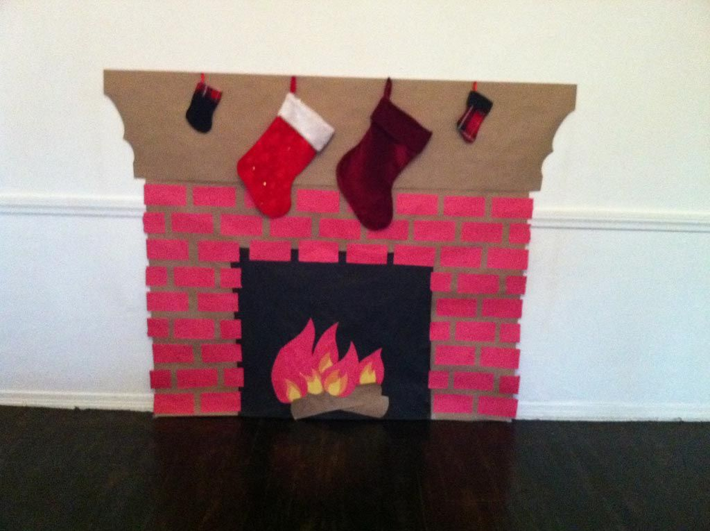 How To Make A Fake Fireplace Out Of Paper Christmas Fireplace Decor Diy Christmas Fireplace Fake Fireplace