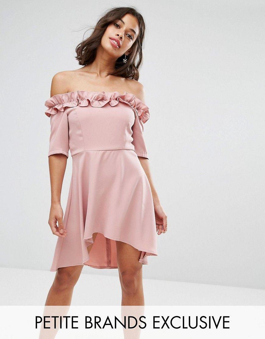 Paper Dolls Petite Bardot Frill High Low Hem Skater Dress - Pink ...