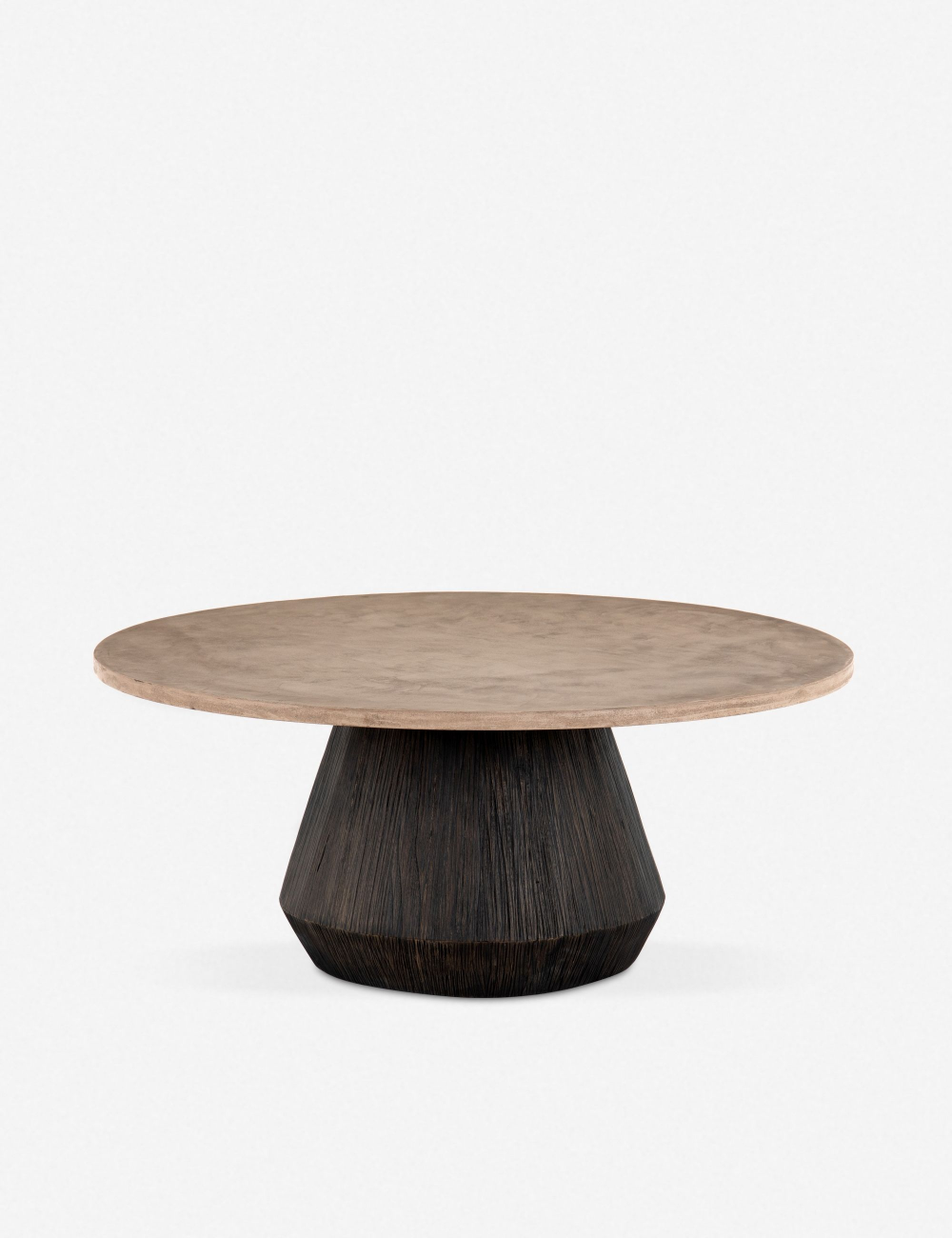 This Pedestal Living Room Coffee Table Features A Two Toned Design With A Carved Sungkai Wood Bas Round Wood Coffee Table Round Coffee Table Coffee Table Wood [ 1300 x 1000 Pixel ]