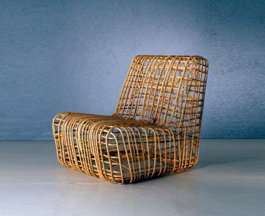 Bonacina Mobili ~ Contemporary rattan armchair palla by giovanni travasa bonacina