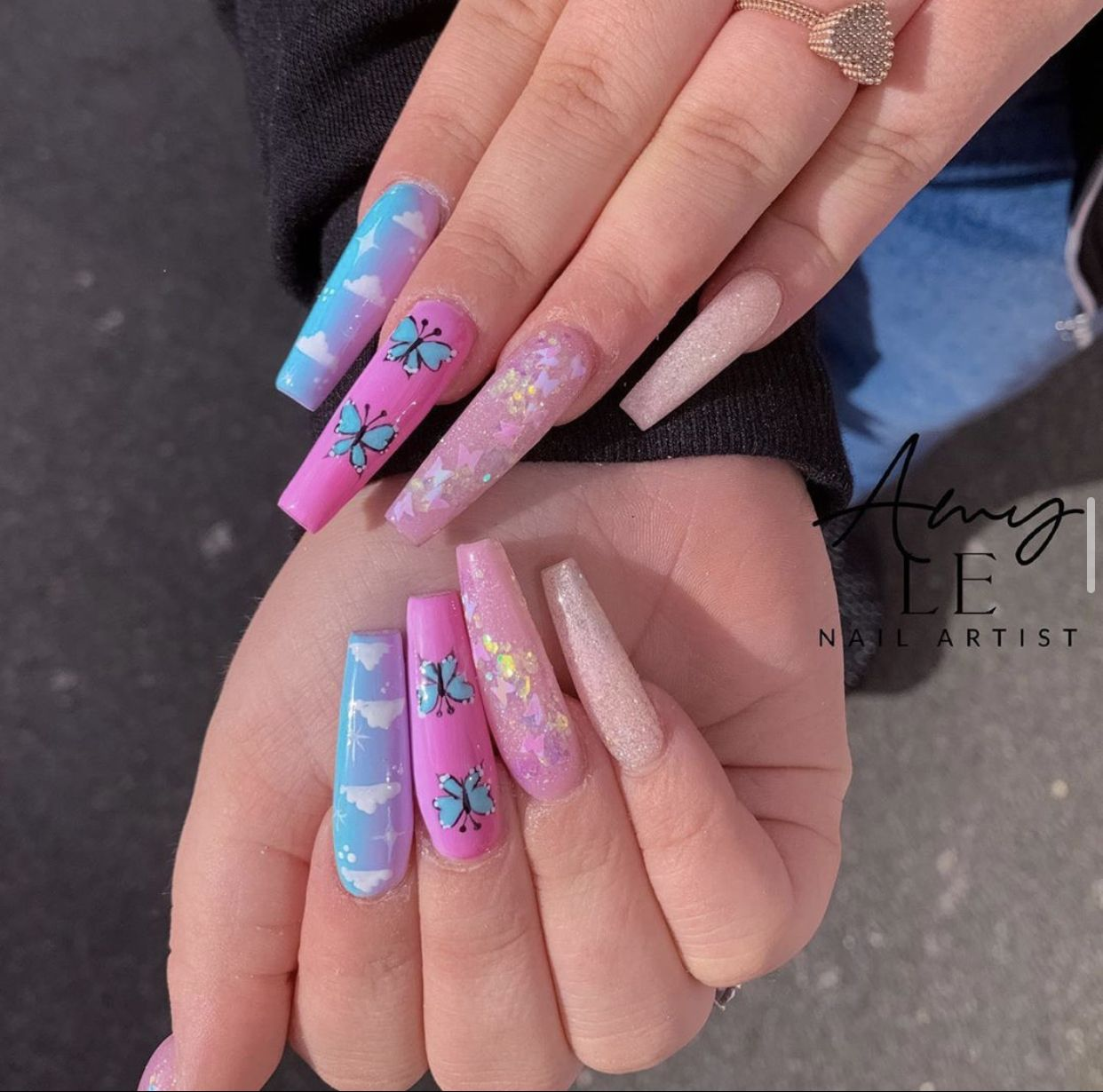 Colorful Pastel Coffin Pink And Blue Butterfly Glitter Aesthetic Cloud Acrylic Nails In 2020 Acrylic Nails Bling Nails Best Acrylic Nails